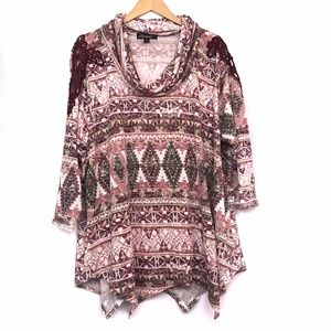 Red Pink Brown Geometric Cowl Knit Lace Top Blouse